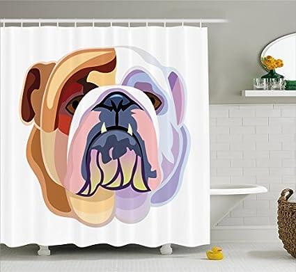 Amazon RHATTOWN Bulldog Shower Curtain French Bulldog Shower