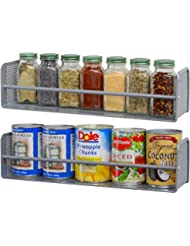 2 Pack - SimpleHouseware Wall Mounted Spice Rack, Silver