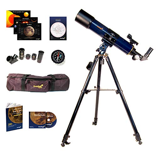 Levenhuk Strike 90 Plus Refractor AZ Mount Telescope - Portable Travel Scope with case and Accessory kit for Beginners