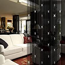 SUIE 1M x 2M Door String Curtain With Crystal Beads Rare Flat Thread Fringe Window Panel Room Divider Cute Strip Tassel for Wedding Coffee House Restaurant Parts -- Black