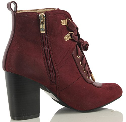 Ankle On Heel Up Tab Chic Lace Pull Womens Combat Bootie Stacked Wine qzwaFn6