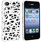 NEW blanche de l'iPhone 4S / iPhone 4 bois coupé STYLE EN CAOUTCHOUC dur de couverture arrière / CASE / SHELL / skin