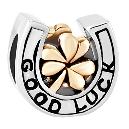 ReisJewelry Good Luck Four Leaf Clover Charms Dangle Charm Beads for Bracelets (Good Luck Horseshoe)