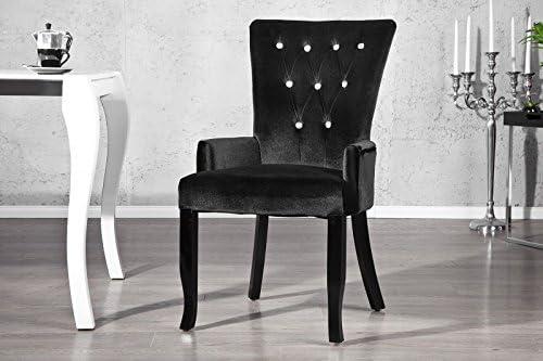 Casa Padrino Esszimmer Stuhl mit Armlehnen und Strasssteinen