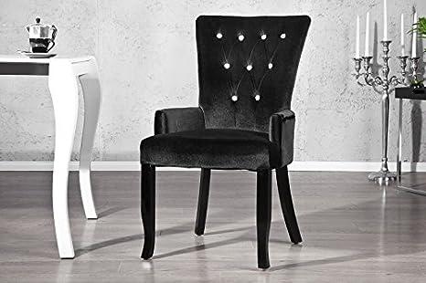 Casa Padrino Luxus Esszimmer Stuhl Mit Armlehnen Und Strasssteinen