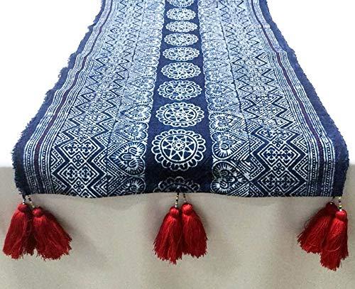 Yositashop 北タイ 手作り 天然コットン テーブル/ベッドランナー ラブリーレッドタッセル サイズ:15インチ×95インチ。重量:224g。   B07JX6CZM7