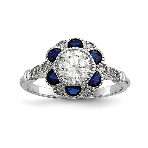 925 Sterling Silver Cubic Zirconia Cz Synthetic Blue Sapphire Flower Band Ring Size 6.00 Flowers/leaf Fine Jewelry Gifts For Women For Her ()