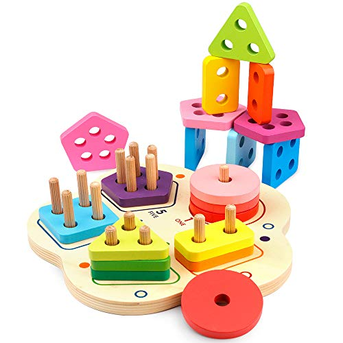 D-FantiX Wooden Puzzle Educational Shape Sorter Color Recognition, Preschool Geometric Board Fraction Puzzle Blocks Stack Sort Matching Toys for Age 2 3 4 5 Years Old Kids Toddlers