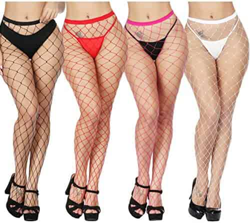 94d729ad6c2f3 TGD Womens Sexy Fishnet Tights Pantyhose Net Plus Size Thigh High Stockings  4 Pairs