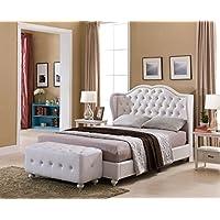 Kings Brand Furniture - White Tufted Design Faux Leather King Size Upholstered Platform Bed