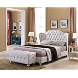 Kings Brand Furniture White Tufted Design Faux Leather King Size Upholstered Platform Bed