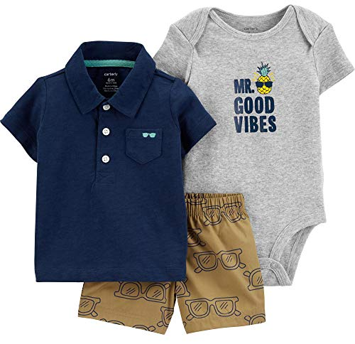 Carter's Baby Boys' 3 Piece Layette Set (Baby) (3 Months, Navy Sunglasses)