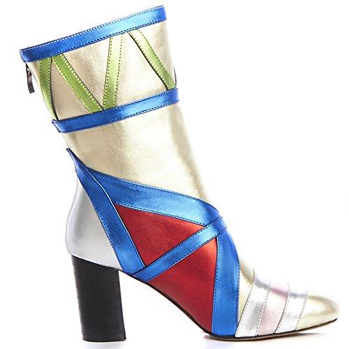 Minivog Femmes Carré-orteil Bande Talon Chunky Cheville Bottes Avec Fermeture À Glissière Multicolore