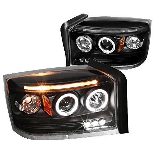 Spec-D Tuning 2LHP-DAK05JM-TM Dodge Dakota Dual Halo Led Projector Black Head Lights Pair