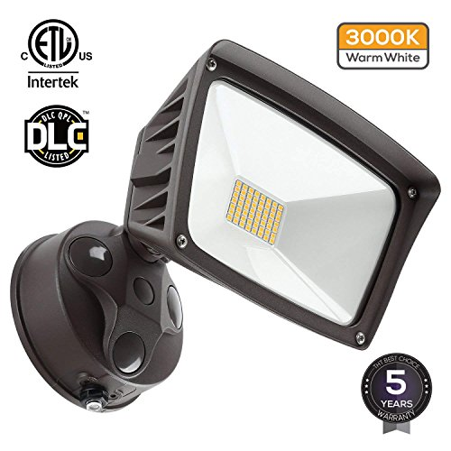 LED Outdoor Flood Light,Dusk-to-Dawn (Photocell Included), 3400lm Ultra-Bright Waterproof Security Floodlight, 28W (220W Equiv.), DLC and ETL-Listed Exterior Lighting for Yard Porch, 3000K Warm White (Dusk To Dawn Exterior Lighting)