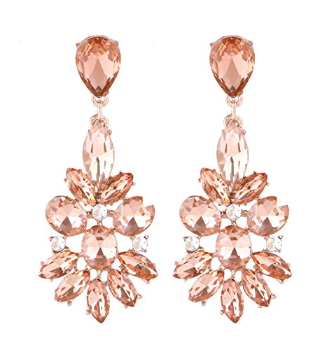 NLCAC Chandelier Drop Earrings Leaf Shape Crystal Dangle Earrings for Bride Wedding Jewelry for Women (flower champagne) (Multi Shape Chandelier Earrings)