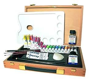 Giotto 507400 - Maletín de madera con témperas en tubo, 18 x 12 ml + 2 x 21 ml, y accesorios para iniciarse en la pintura