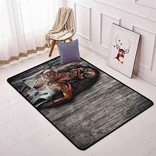 Zombie Children's Bedroom Carpet Angry Dead Woman Sacrifice Fantasy Design Mystic Night Halloween Image Soft Fluffy W47.2 x L59 Inch Dark Taupe Peach Red]()