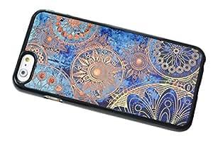1888998657715 [Global Case] Marrocan Mandala Patrón de flores Azul Verde Arte Árabe Azteca Étnico Tribal Maya Flores Mosaico Oriental Oriente (NEGRO FUNDA) Carcasa Protectora Cover Case Absorción Dura Suave para Huawei Y500