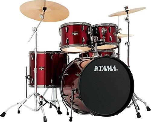 tama-imperialstar-5-piece-complete-kit-blacked-out-black-with-meinl-hcs-cymbals-vintage-red