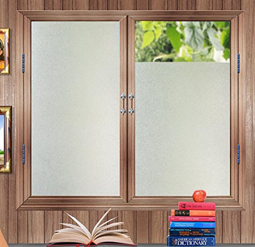 Decorative Grid Trim (bofeifs Privacy Window Film No-glue Frosted Glass Film Decorative Vinly Self Static Cling with Grid on the Backing Film Sticker for Office Home Bedroom Bathroom Kitchen17.7In. X 78.7In. (45 x 200cm))