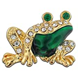 PinMart's Gold and Green Enamel Rhinestone Frog Brooch Pin 7/8''