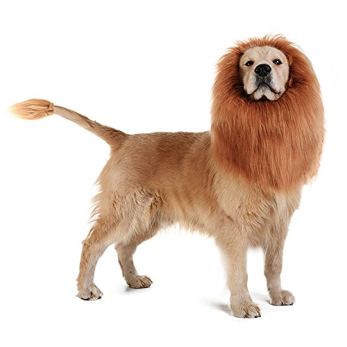 TOMSENN Dog Lion Mane - Realistic & Funny Lion Mane Dogs - Complementary Lion Mane Dog Costumes - Lion Wig Medium to Large Sized Dogs Lion Mane Wig Dogs