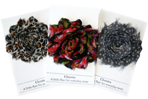 - Shabby Chic Flower Hair Clips, Set of Three, Over 20 Colors: Trendy: Leopard Print, Red & Black Floral & Gray with White Dots