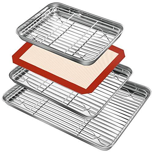 Baking Sheet Rack Set (3 Sheets + 3 Racks + 1 Silicone Baking Mats), Stainless Steel Baking Pan Cookie Sheet with Rack…