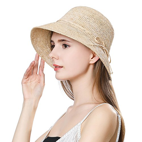 Jeff & Aimy Ladies Packable 100% Raffia Straw Sunhat UPF Chin Strap Bowknot Floppy Wide Brim Panama Fedora Summer Beach Sun Hat Size Adjustable Beige Natural ()