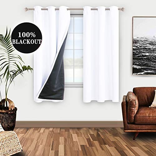 WONTEX 100% White Blackout Curtains for Bedroom 42 x 63