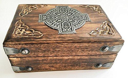 Wooden Carved Celtic Box W/Metal Cross-Trinket/Keepsake/Storage Box 6″x 4″ WB438 Metal Cross