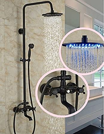 GOWE lujo aceitado bronce columna de ducha LED alcachofa de ducha ...