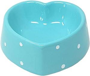 BLUE HEART POLKA DOT HARD DOLOMITE CERAMIC PET CAT KITTEN WATER FOOD BOWL