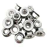 ZXHAO 304 Stainless Steel Nuts M10 Thread Serrations Class Hexagon Flange Lock Nuts 20 Pcs