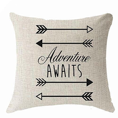 Nordic simple geometry arrow saying adventure awaits Throw Pillow Cover Cushion Case Cotton Linen Material Decorative 18 x18 Square (18x18 inches, 2)