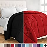 Alternative Comforter - Ultra-Soft Premium 1800 Series Goose Down Alternative Reversible Comforter - Hypoallergenic - All Season - Plush Fiberfill, Twin Extra Long (Twin XL, Black/Red)