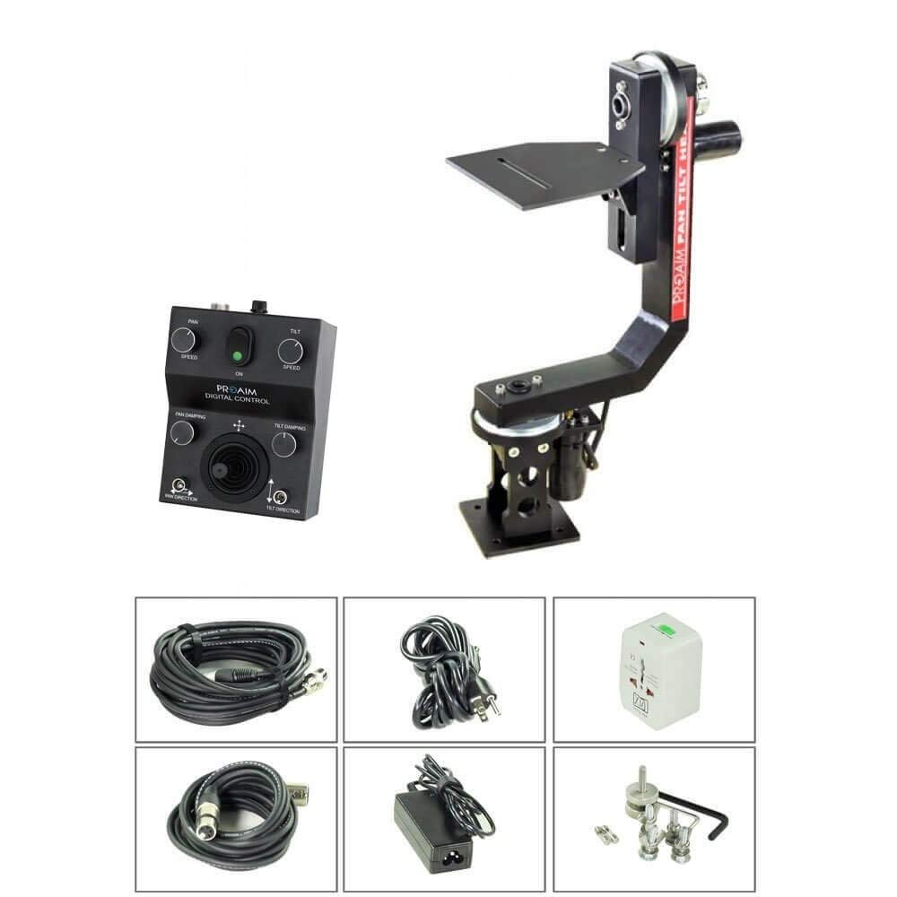 PROAIM Professional Motorized Sr. Pan Tilt Head with 12V Joystick Control for DSLR Video Cameras Camcorders up to 7.5kg/16.5lbs for Jib Crane Tripod + Carrying Bag (PT-SR) by PROAIM