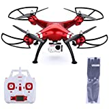 Syma X8HG - RC Quadcopter Drone (2.4G with 8MP Camera, Headless Mode, 100M Control Distance, Barometer Altitude Hold, 2000mAh Battery) Red With Floureon Props