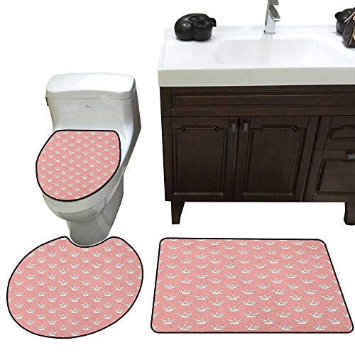 Moeeze-Home Swan Skidproof Bath Mat Hand Drawn Style White Birds on Coral Backdrop with Patterned Wings and Little Hearts 3 Piece Toilet mat Set Multicolor ()