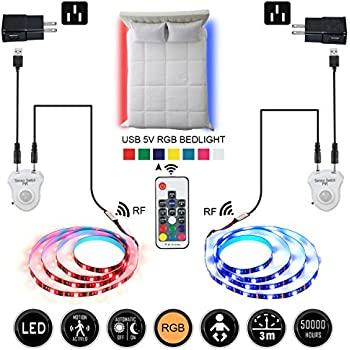 LEHOU Under Bed Light Motion Activated Illumination RGB Color Include Warm Color Automatic Staircase Lighting LED Strip Sensor Night Light for Bathroom ...