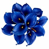 Celine lin Calla Lily Bridal Wedding Party Decor Bouquet PU Real Touch Flower Artificial Flowers(10 PCS, Royal Blue)