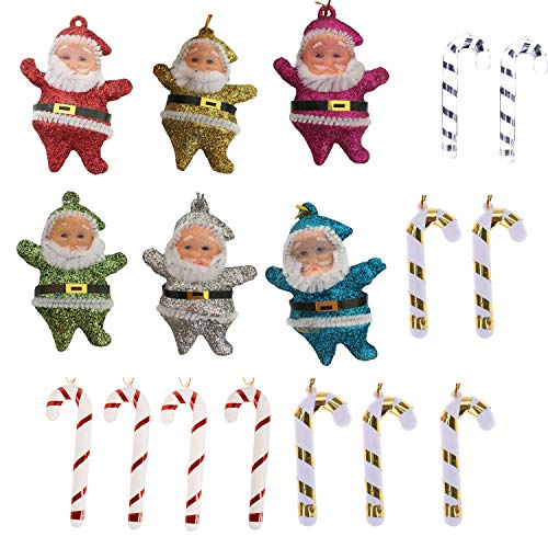 Popmall Christmas Tree Ornaments Set, 18ct Hanging Candy Crutches Cane with 6ct Colorful Christmas Santa Clause for Christmas Tree Home Decorations (6 Candy Cane Ornaments)