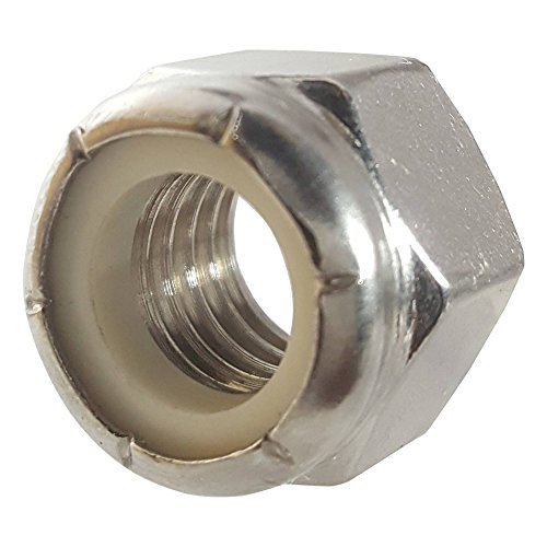 10-24 Nylon Insert Hex Lock Nuts, Stainless Steel 18-8, Plain Finish, Quantity 100 by ()