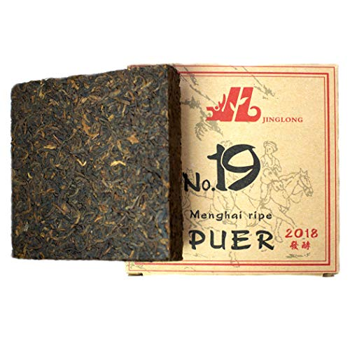 (Chinese Tea Puerh - Ripe Pu-erh Tea Brick No.19 - Yunnan Post Fermented Tea Pu erh - Black Loose Leaf Shu Puerh Tea - Natural Tea for Weight Loss with Caffeine - Puer Tea Cake 100 gram/3,6 ounce)