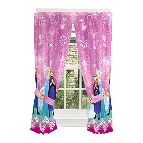 "Disney Frozen Kids Room Window Curtain Panels with Tie Backs, 82"" x 63"", Dark Purple"