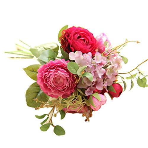 Artificial Fake Flowers Koolee Land Lotus Floral Wedding Bouquet Party Home Decor (Hot pink)