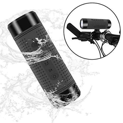 GULUDED Wireless Bluetooth Bike Speaker with 3000mAh Power Bank ,LED light,Bike Mount,TF Card Slot,Radio Waterproof Shockproof for Indoor Outdoor Activities