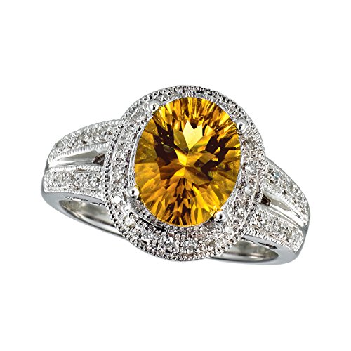 2.50 Carat (ctw) 14k White Gold Oval Yellow Citrine and Diamond Accent Halo Petite Promise Engagement Ring (10 x 8 MM) - Size 4