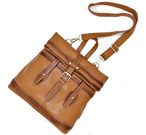 Camel Crossbody Women��s Poet Bag Convertible Genuine Leather Shoulder Tote La Backpack xAYvPwP